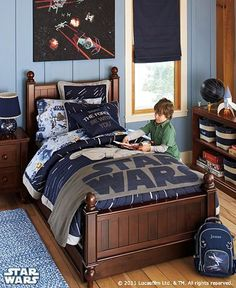 """We have been redecorating the boys room, a-la """"Star Wars"""". I was inspired by the new PBK Star Wars line. Inspiration Room I am trying to re. Decoration Star Wars, Star Wars Decor, Star Wars Bett, Star Wars Zimmer, Kids Bedroom, Bedroom Decor, Bedroom Ideas, Bedroom Pics, Star Wars Bedroom"""