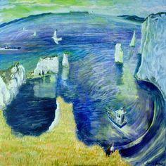 View the painting: Old Harry Rocks Dorset coast by Francis Farmar John Galliano, Frances Farmer, Art Plage, Steve Madden, Harry Rocks, Dorset Coast, South West Coast Path, Beach Art, Art Photography