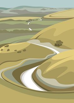 A3 LTD EDITION PRINT. Uk South Downs Minimal by ianmitchellprint
