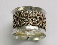 Banda ancha vand de plata esterlina oxidada boda por artisanimpact