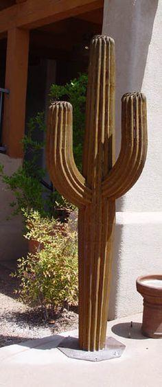 """""""7 ft Saguaro, Rusty"""" - Metal Sculpture by Eric Richard Cactus"""