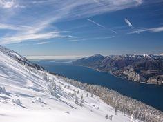 Snow of Mount Baldo above the Lake of Garda, Italy