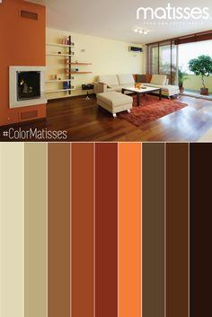 Acentos naranjas combinados con tonos terrosos, los colores del otoño.