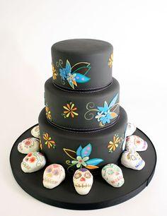 Black Dia De Los Muertos Cake