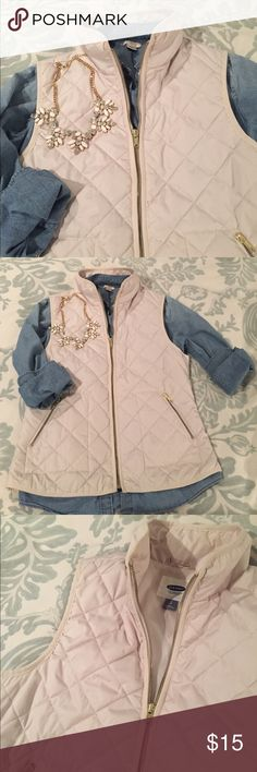 Lightweight Vest with Gold Zippers A versatile cream colored vest. Light weight is perfect for layering in winter and spring. Old Navy Jackets & Coats Vests