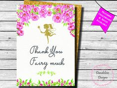 Fairy thank you card Fairy gold thank you card Pink Gold