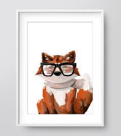 Hipster Fox Print Painting Wall Prints Printable Wall by IzzyIves Nursery Prints, Wall Prints, Hipster Nursery, Fox Print, Woodland Nursery, Paint Designs, Printable Wall Art, Playroom, Digital Art