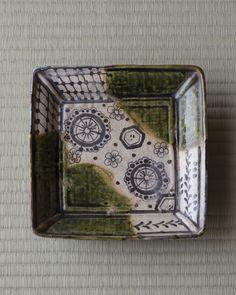 Momoyama period Oribe, a square flat bowl