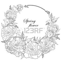 peonies petals: Round wreath with seven peony flowers and leaves with an empty place for text isolated on white background. Floral elements in contour style. Illustration