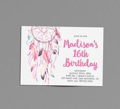 Boho Birthday Party Invitation Printable, Dreamcatcher 16th Bday Invite, Pink Feathers, Bohemian Chic 13th, Hippie Festival 21st, Wild One 1st