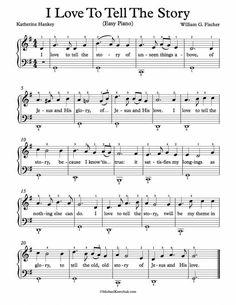 Easy Piano Arrangement Sheet Music – I Love To Tell The Story #learnpiano Church Songs, Church Music, Violin Music, Piano Songs, Piano Lessons, Music Lessons, Guitar Lessons, Easy Piano Sheet Music, Lead Sheet