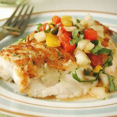 Potato-and-Herb Crusted Snapper with Yellow Pepper Salsa Recipe Fish Recipes, Seafood Recipes, Cooking Recipes, Healthy Recipes, Cod Recipes, Healthy Meals, Healthy Food, Recipies, Halibut