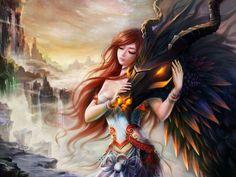Fantasia Mulher  Woman Dragão Garota Fogo Batalha Fantasia Papel de Parede