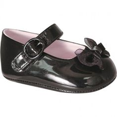 Baby Deer Black Patent Skimmer Crawling Shoe with Bow and Hook and Loop Closure