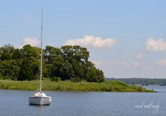 Lone boat moored in bay, Chesapeake Bay Maritime Museum, St. Michael's, Maryland.
