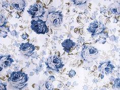Tissu fleuri bleu en coton fond blanc 50 x 45 cm : Tissus pour Patchwork par une-histoire-de-mode