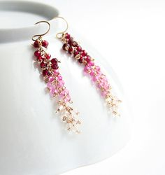 Bijoux de pierre gemme rose boucles d'oreilles par laurastark