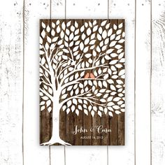 Wedding Guest Book - Tree on Wood Background - Guest Book Poster - Coral Guest Book on Etsy, $60.54 CAD
