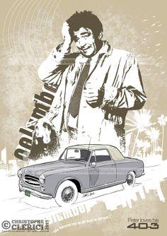 """Les illustrations de christophe: Peugeot 403 """"Columbo"""" (Hommage à Peter Falk)"""