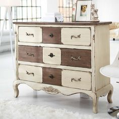 Shabby & Chic Two Tone Dresser .................... #DIY
