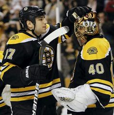 They're so cute! Lucic and Rask