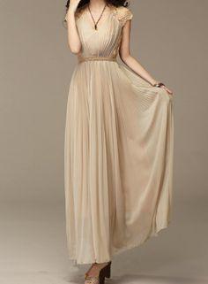 Beige Chiffon Maxi Dress