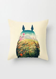 "Totoro ""Play Outside"" Pillow Cover from dotandbo.com. Love how the image places his eyes with moon and flowers, but the idea of using a colorful  and complicated photo as a background to a simple silhouette? Must be repeated. Somehow. Maybe on paper using a photo from bigstock? ~cww"