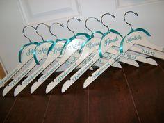Wedding Hangers, Personlized Brides/Bridesmaids Hangers/Custom Wedding Hangers. $14.00, via Etsy.