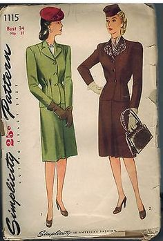 1115 Vintage Simplicity Sewing Pattern Misses 1940's 2 Piece Suit Jacket Skirt