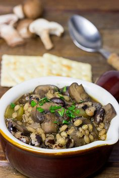 This Wild Mushroom Bean and Barley Soup features several types of 'shrooms and the magical orca bean! It's perfect for chilly Fall and Winter days! | Spiced