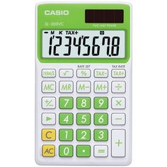 Casio Solar Wallet Calculator With Display - Green - Electronics Solar Calculator, Square Roots, T 4, Household Items, Casio, Protective Cases, Display, Key Change, Sign