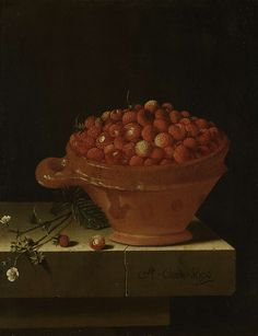 Adriaen Coorte (Dutch, ca. 1665 – after 1707) - A bowl of strawberries on a stone plinth, ca. 1696. Rijksmuseum