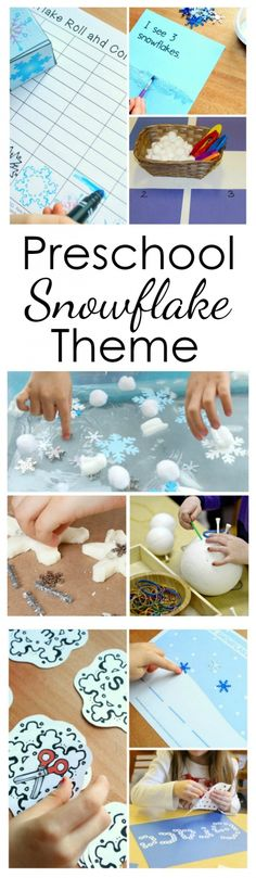 Snowflake Theme Preschool Activities Use these preschool snowflake activities for a full week of playful winter learning at home or in the classroom. Kindergarten Lesson Plans, Preschool Lessons, Preschool Learning, Kindergarten Activities, Fun Learning, Winter Crafts For Toddlers, Winter Activities For Kids, Preschool Winter, Snow Activities
