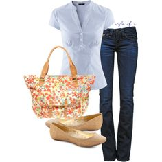 Casual Floral Tote Bag, created by styleofe on Polyvore