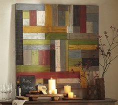 Literally Inspired: DIY Pottery Barn Painted Pieced Woodwork-- could definitely replicate this! Wood Artwork, Diy Artwork, Diy Wall Art, Wood Wall Art, Painting On Wood, Wall Decor, Office Artwork, Wood Plank Walls, Rustic Wood Walls