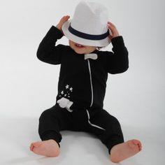Combinaison bio bébé noire Slow. Sweat.  Black organic baby playsuit. French terry.