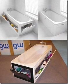 So clever! Storage in the bathtub!