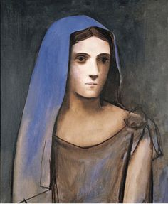 Pablo Picasso Buste de femme au voile bleu dated (on the stretcher) oil on canvas 24 x 19 ¾ in.) Painted on 28 November 1924 Kunst Picasso, Art Picasso, Picasso Blue, Picasso Paintings, Watercolor Paintings, Georges Braque, Cubist Movement, Kunst Online, Spanish Painters