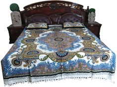 #Indian_Bedding #Vintage_bedspread #Bule_Printed_bedspread #Cotton_bedspread #bedspread   Bohemian Cotton Handloom Bedspread Blue Withe Bedding 3ps Pillows