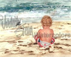 Blond Beach Girl in White Sun Dress Watching by steinwatercolors