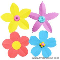 Folding Paper Flowers craft (5-petal flowers) -- with projects and links to other flowers
