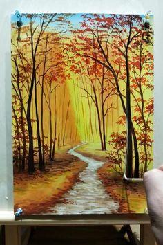 Canvas Painting Tutorials, Diy Canvas Art, Acrylic Painting Canvas, Acrylic Painting Lessons, Landscape Art, Landscape Paintings On Canvas, Landscapes To Paint, Acrylic Landscape Painting, Painting Trees