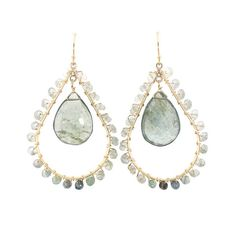 Cait Earrings in Moss Aquamarine | Emily Elaine Designs