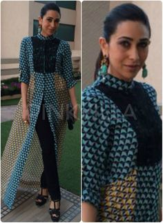 Karisma Kapoor was spotted in an event in Baroda wearing a Dev R Nil suit and Buddha earrings by Curio Cottage. Her look was styled by Esha Amin.  What say?