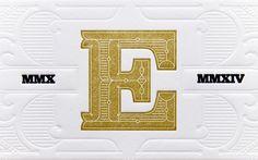 Blind letterpress ornamenting the monogram