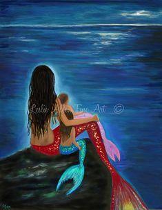 Mermaid Art Mermaid Print Mermaid Painting by LeslieAllenFineArt