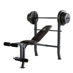Marcy Standard Bench w/ 100 lb Weight Set Home Gym Workout Equipment - Used