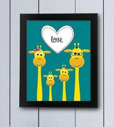 Jirafas cuadro decoracion habitación cuna bebé / pdf por RockNPrint