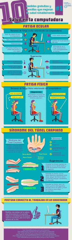 10 medidas para mejorar tu salud al ordenador #infografia Health Care, Health And Nutrition, Health And Wellness, Health Fitness, Healthy Habits, Healthy Tips, Health Education, Health And Safety, Safety Tips