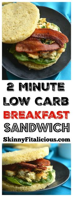 Low Carb Breakfast Sandwich made in under 2 minutes in the microwave. Make them ahead of time & freeze, or make them morning, noon or night for a healthy, Paleo, fluffy like a cloud bread. Paleo + Gluten Free